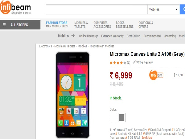 Infibeam Selling Micromax Canvas Unite 2 A106 (Gray)