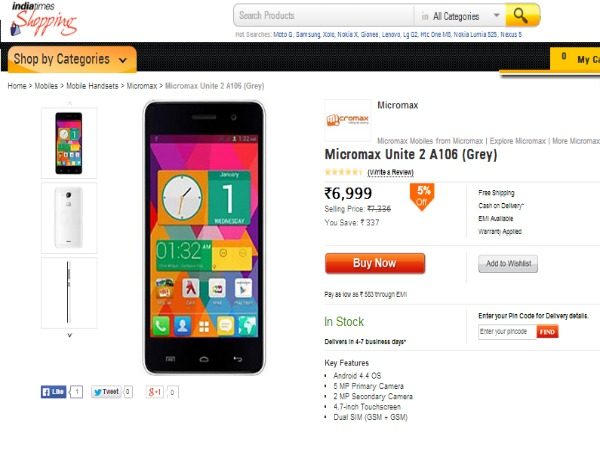 Shopping.indiatimes Selling Micromax Canvas Unite 2 A106 it supports 21 Languages