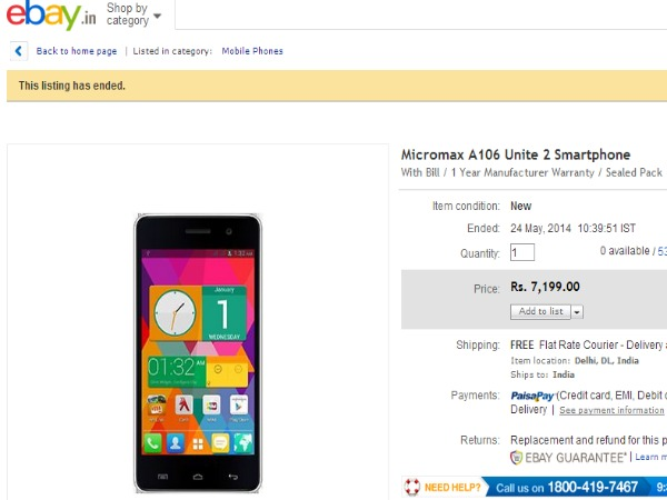 Ebay Selling Android 4.4 KiKat OS Based Micromax Canvas Unite 2
