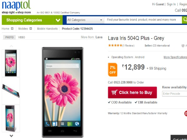 Naaptol Offering Lava Iris 504Q+ At Rs 12,999