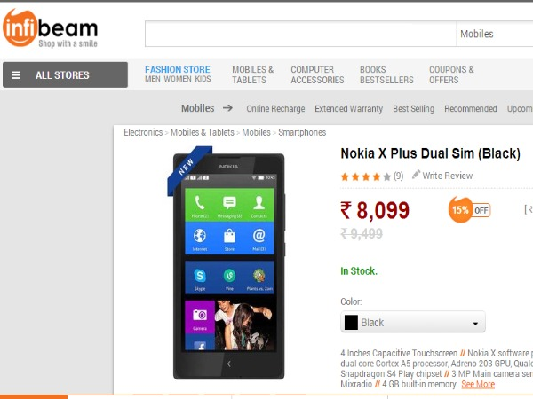 Nokia X Plus Available in Infibeam