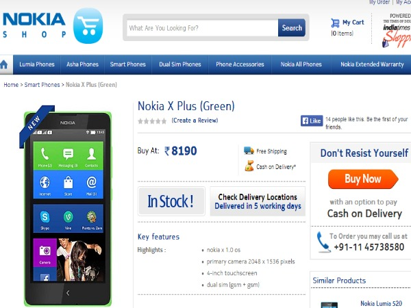 Nokia X Plus Available in Nokia Shop