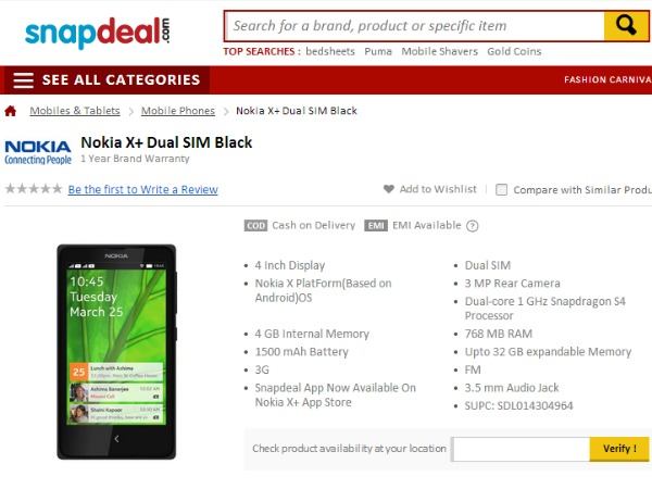 Nokia X Plus Available in Snapdeal
