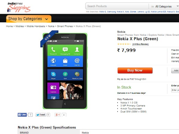 Nokia X Plus Available in shopping.indiatimes