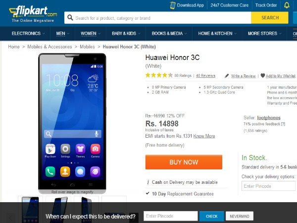 Flipkart Offering Huawei Honor 3C Android Smartphone