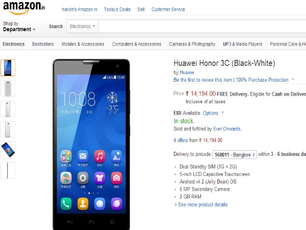 Amazon Offering Huawei Honor 3C Android Smartphone