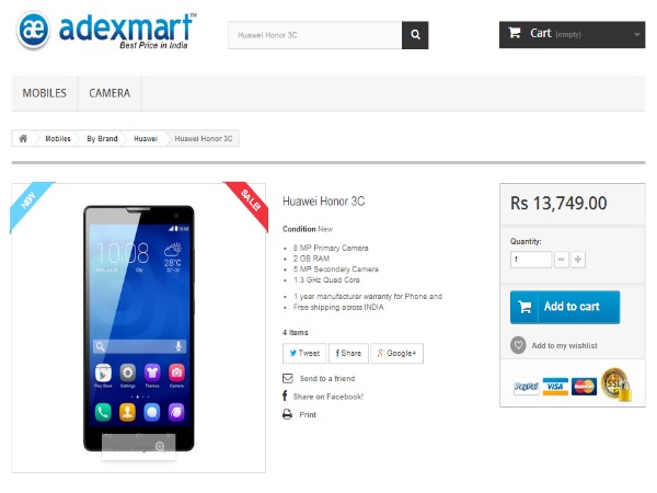 Adexmart Offering Huawei Honor 3C Android Smartphone