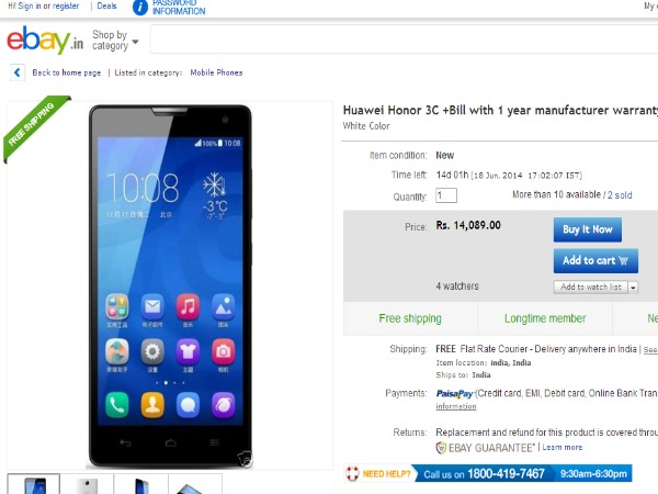 Ebay Offering Huawei Honor 3C Android Smartphone