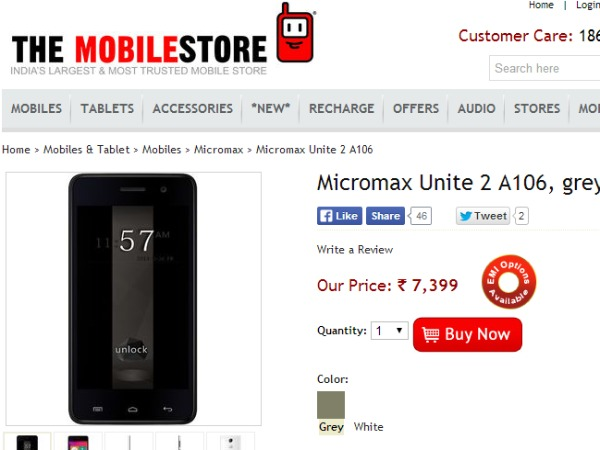 TheMobileStore Offering Micromax Unite 2 A106 Android Kitkat Dual SIM (GSM + GSM) Smartphone at Rs. 7,899