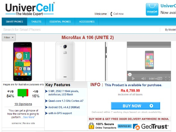 Univercell Offering Micromax Unite 2 A106 Android 1 GB RAM, 4 GB ROM Smartphone at Rs. 7,899
