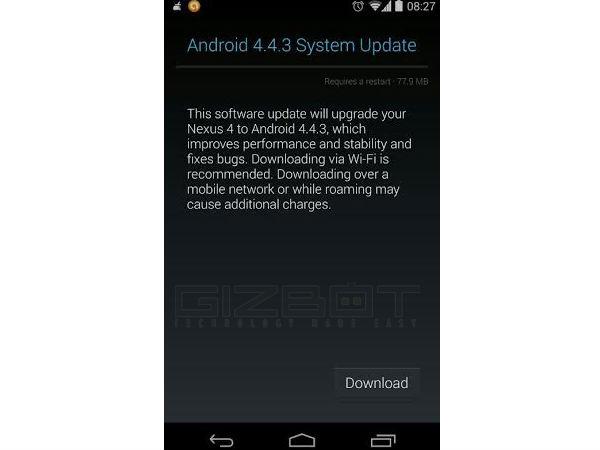 Google Nexus 4 Starts Receiving Android 4.4.3 Update in India