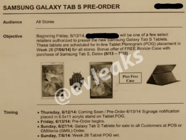 Samsung Galaxy Tab S To Hit Stores This June