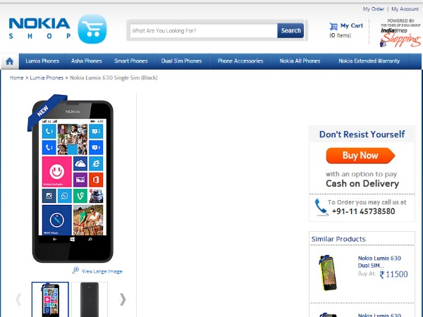 Nokia Lumia 630 Single SIM Variant Now Available Online at Rs 10,500