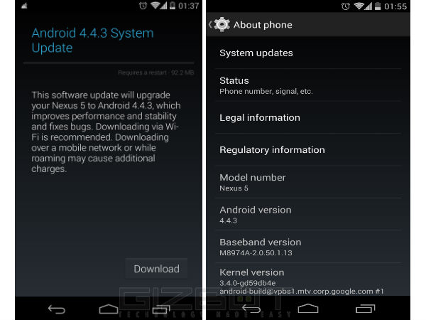 Google releases Android 4.4.3 KitKat Update for Nexus 5