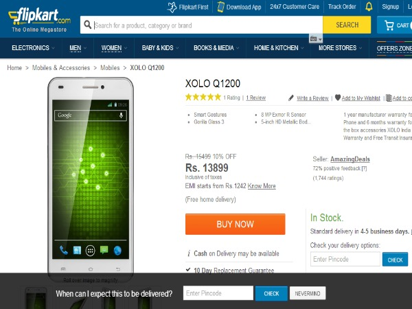 Flipkart: Xolo Q1200 Featured with 5-inch Big HD IPS Display with Damage Resistant Corning Gorilla Glass 3