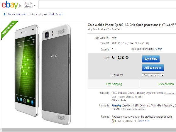 Ebay - Xolo Q1200 1.3 GHz Quad processor Smartphone Now Available in India