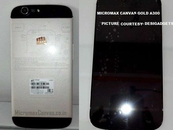 Micromax Canvas Gold A300: Images and Specs Leak Ahead of Debut