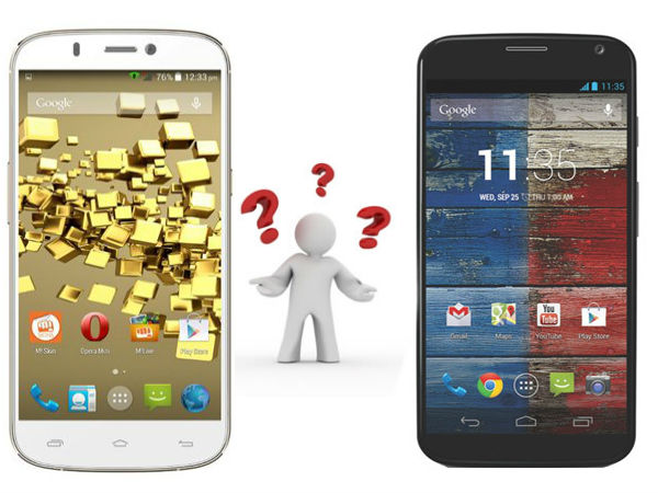 Micromax Canvas Gold A300 VS Motorola Moto X: Specs Comparison
