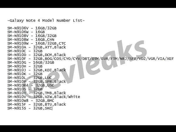 Samsung Galaxy Note 4 Model Number List Spotted Via Online Leak