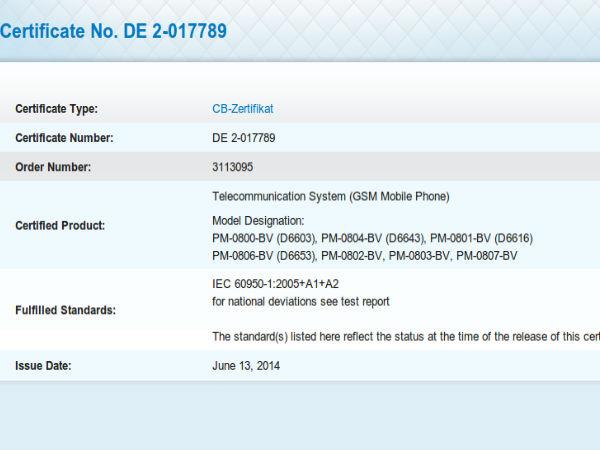 Sony Xperia Z3 Model Number Leaks Online
