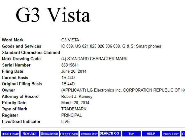 LG G3 Lite, G3 Vigor, G3 Vista and G3 Beat Spotted On Trademark Site
