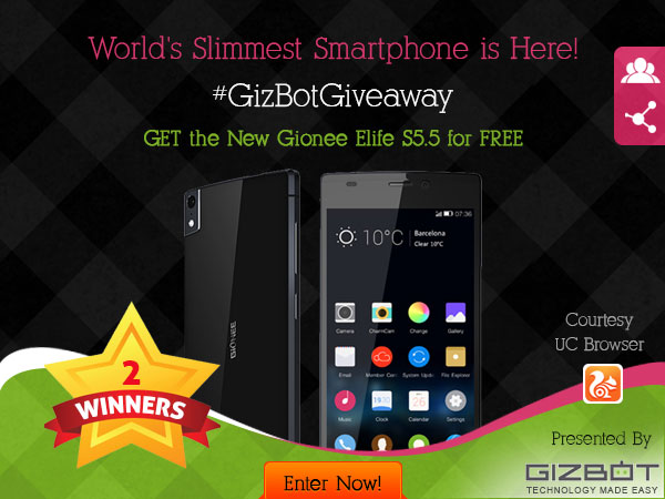 GizBot Giveaway: 2 Free Gionee Elife S5.5! Courtesy UC Browser