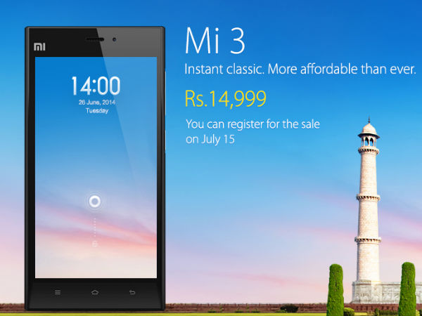Xiaomi Mi3 To Start Selling For Rs 14,999 in India From July 15