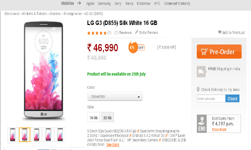 LG G3 Already Up For Pre-Order in India at Rs 46,990