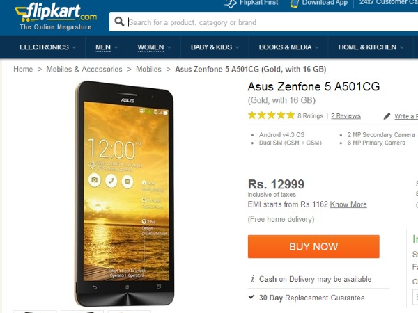 Asus Zenfone 5 Now Available Online For Rs 9,999