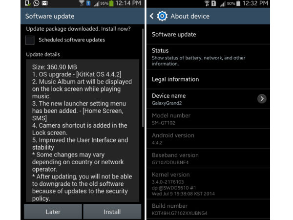 Android 4.4.2 KitKat: Samsung Galaxy Grand 2 Starts Receiving Update