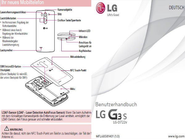 LG G3 S User Manual Leaks: LG G3 Mini Variant Features 2GB RAM, More