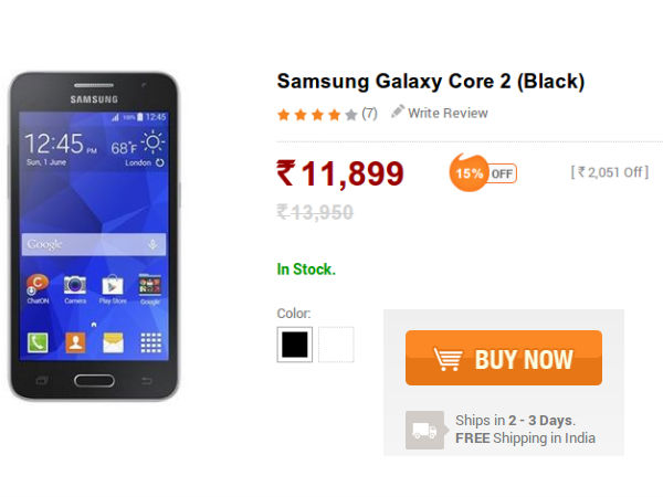 Samsung Galaxy Core 2 With Android KitKat Now Available at Rs 11,899