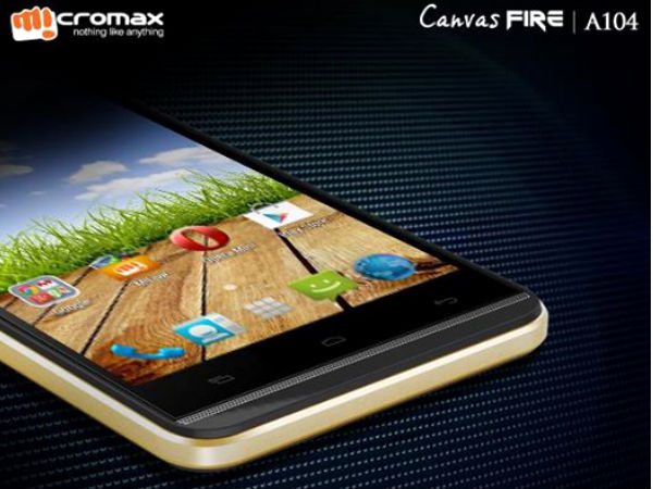 Micromax Canvas Fire A104 with Android 4.4 Announced For Rs 6,999