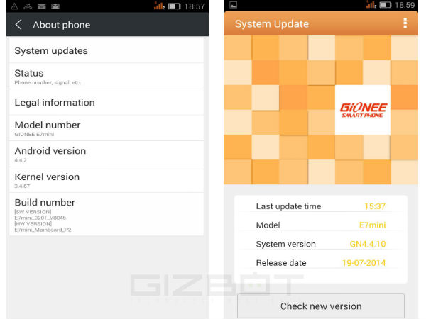 Gionee Elife E7 Mini Starts Receiving Android KitKat Update in India