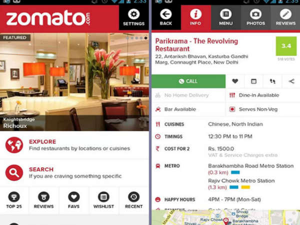 Top Restaurant Apps: Zomato