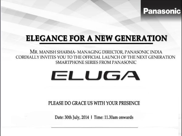 Panasonic Eluga Smartphone Series India Launch Date Set For July 30