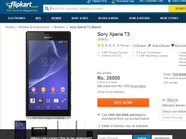 Sony Xperia T3 Now Available in Flipkart