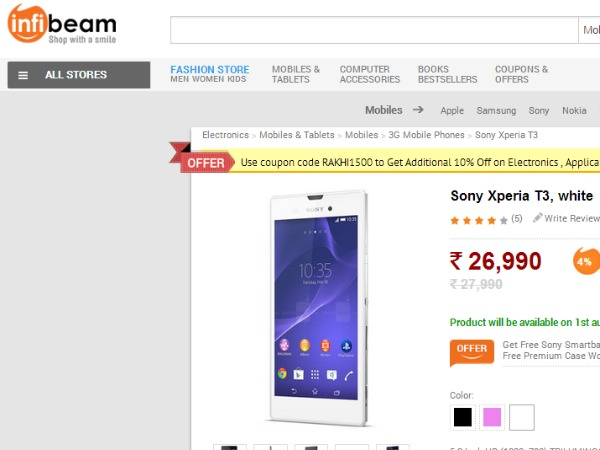 Sony Xperia T3 Now Available in Infibeam