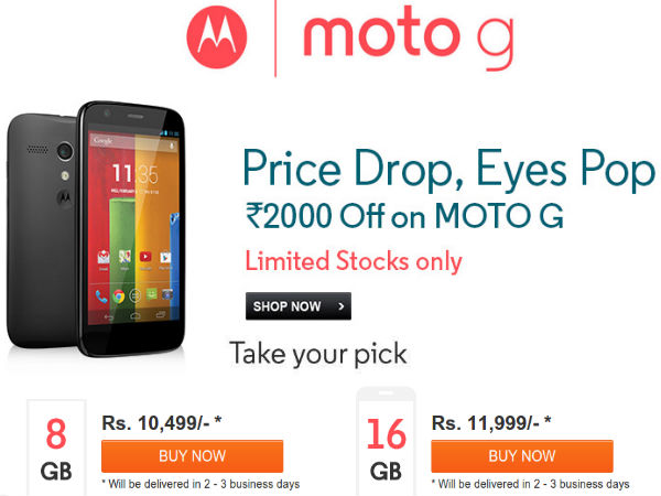 Motorola Moto G Price Reduced By Rs 2,000 For a Limited Time