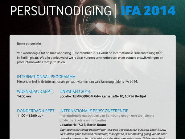 IFA 2014: Samsung Sends out Invites for Galaxy Note 4 Event [REPORT]