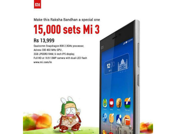 Xiaomi Mi 3 Flash Sale: 15000 Units Available to Buy on Flipkart Today