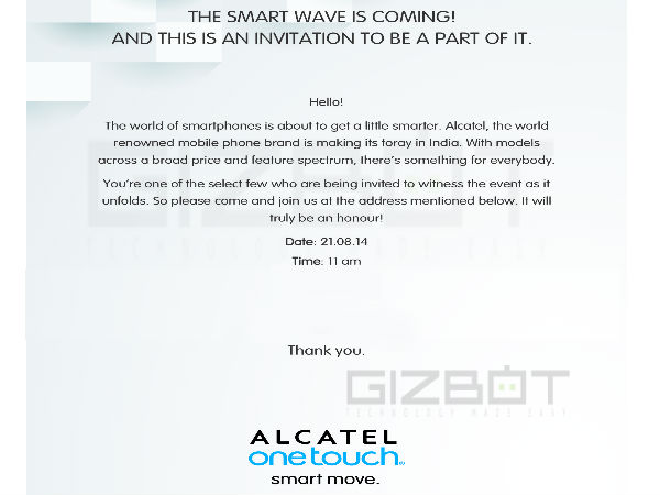 Alcatel Latest Press Invite Teases New Smartphone Release