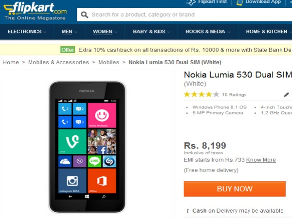 Nokia Lumia 530 Now Available in Flipkart