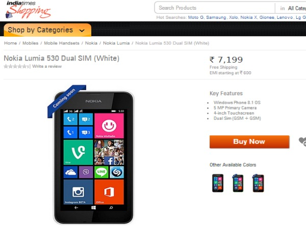 Nokia Lumia 530 Now Available in Shopping.Indiatimes