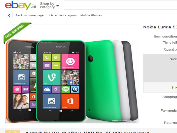 Nokia Lumia 530 Now Available in Ebay
