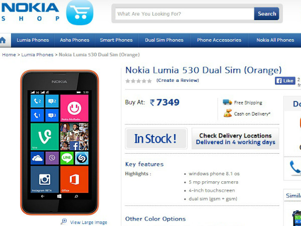 Nokia Lumia 530 Now Available in Nokia.indiatimes