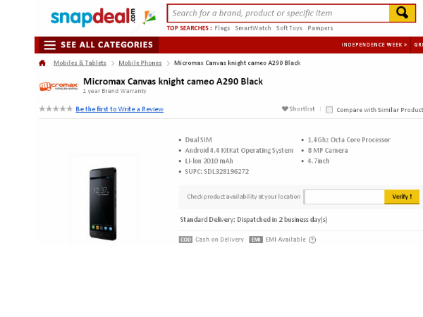 Micromax Canvas Knight Cameo A290 Smartphone Now Available Online