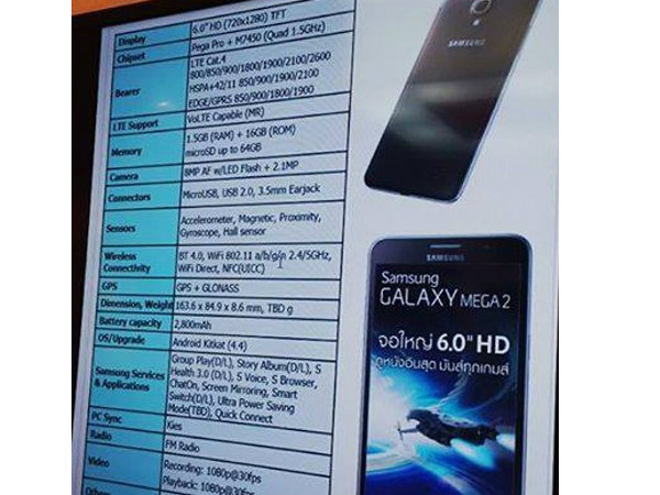 Samsung Galaxy Mega 2: Alleged Spec Sheet Leaked Ahead of Debut