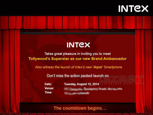 Intex Sends Out Invite for August 12 Event in Bangalore