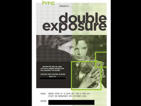 HTC Pushes Out 'Double Exposure' Event Invites for October 8